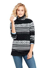 Women's Petite Print Tunic Fleece Turtleneck