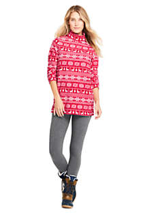 Women's Print Fleece Turtleneck Tunic Top, Unknown