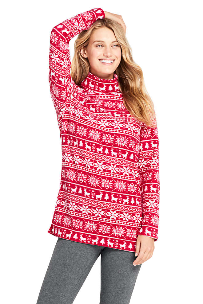 Women's Print Fleece Turtleneck Tunic Top, Front
