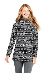 Women's Print Fleece Turtleneck Tunic Top