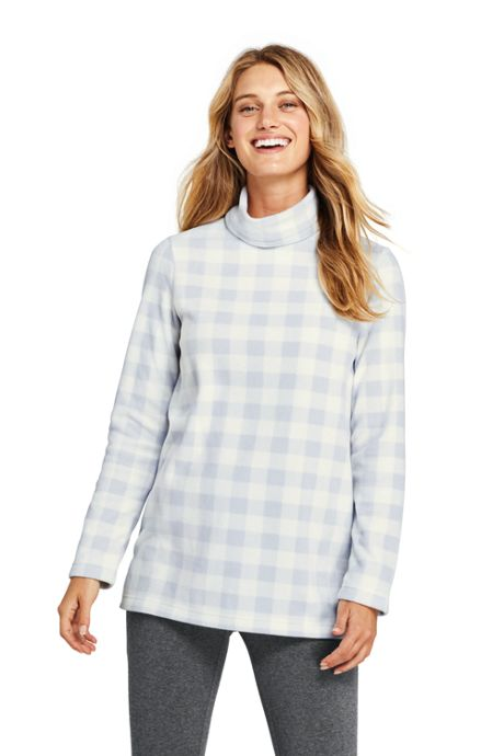 Women's Petite Print Fleece Turtleneck Tunic Top