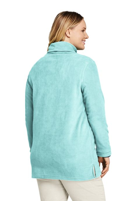 Women's Plus Size Fleece Turtleneck Tunic Top