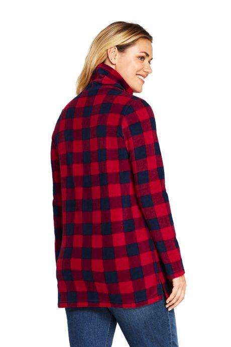 Women's Plus Size Print Tunic Fleece Turtleneck
