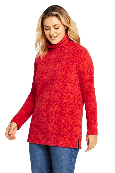 Women's Plus Size Print Tunic Fleece Turtleneck