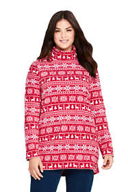 Women's Plus Size Print Fleece Turtleneck Tunic Top