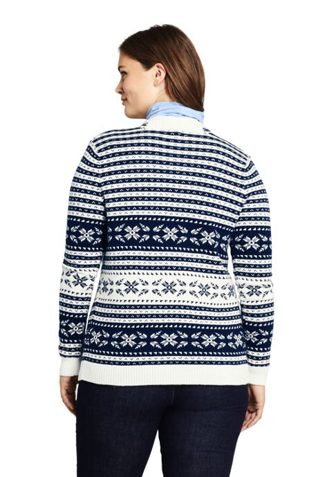 Women's Plus Size Fair Isle Lofty Waterfall Cardigan Sweater