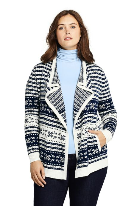 Women's Plus Size Fair Isle Lofty Waterfall Cardigan Sweater