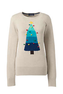 Women's Plus Size Supima Cotton Christmas Sweater Placed Texture, Front