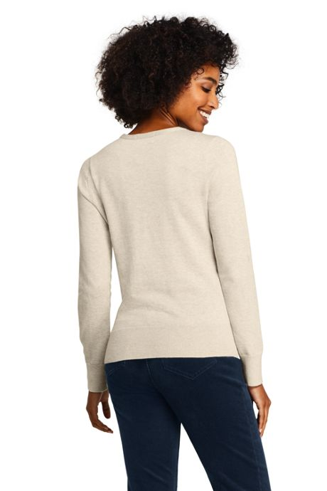 Women's Petite Supima Cotton Christmas Sweater Placed Texture