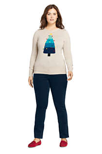 Women's Plus Size Supima Cotton Christmas Sweater Placed Texture, alternative image