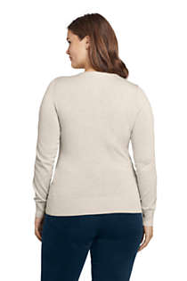 Women's Plus Size Supima Cotton Christmas Sweater Placed Texture, Back