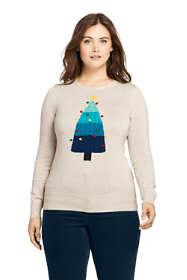 Women's Plus Size Supima Cotton Christmas Sweater Placed Texture
