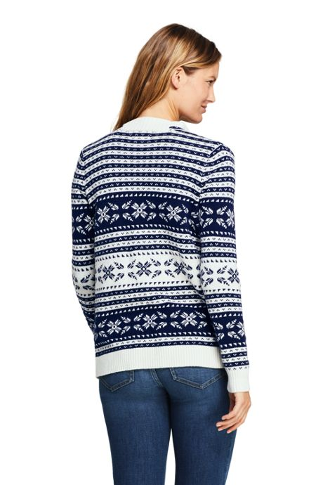 Women's Petite Fair Isle Lofty Waterfall Cardigan Sweater