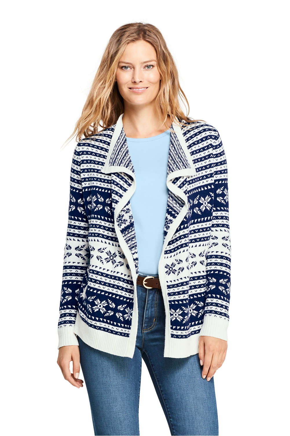 0559071f9df1 Women s Fair Isle Lofty Waterfall Cardigan Sweater from Lands  End