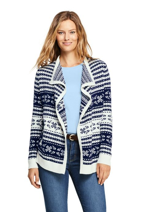 Women's Fair Isle Lofty Waterfall Cardigan Sweater