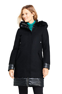 Women's Hybrid Coat, Wool Blend and ThermoPlume