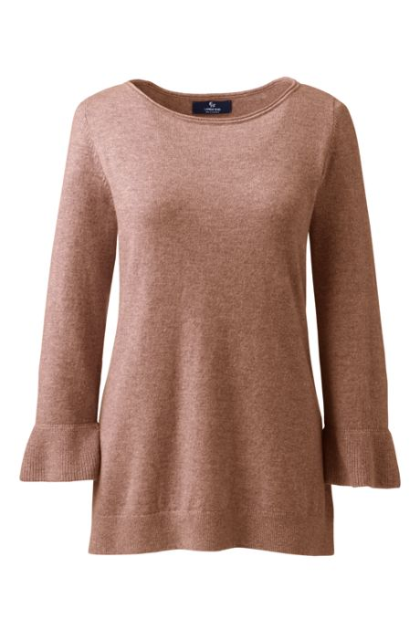 Women's Cashmere Ruffle Sleeve Boat Neck Sweater