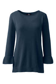 Women's Petite Cashmere Ruffle Sleeve Boat Neck Sweater