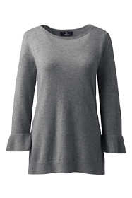 Women's Plus Size Cashmere Ruffle Sleeve Boat Neck Sweater