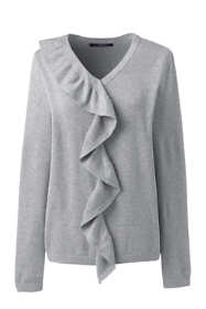 Women's Cotton Modal V-neck Ruffle Sweater