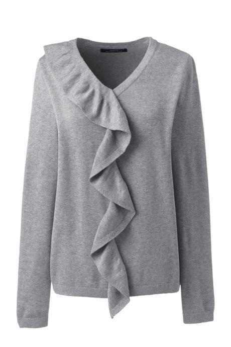 Women's Plus Size Cotton Modal V-neck Ruffle Sweater