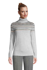Women's Petite Fair Isle Cashmere Turtleneck Sweater