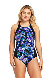 f525c02877a Women s Plus Size Eyelet Ruffle V-neck One Piece Swimsuit from Lands ...