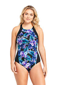 Women's Plus Size Chlorine Resistant High-neck Athletic One Piece Swimsuit Print