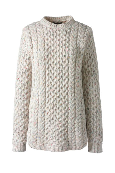 Women's Tall Cozy Donegal Tunic Cable Sweater