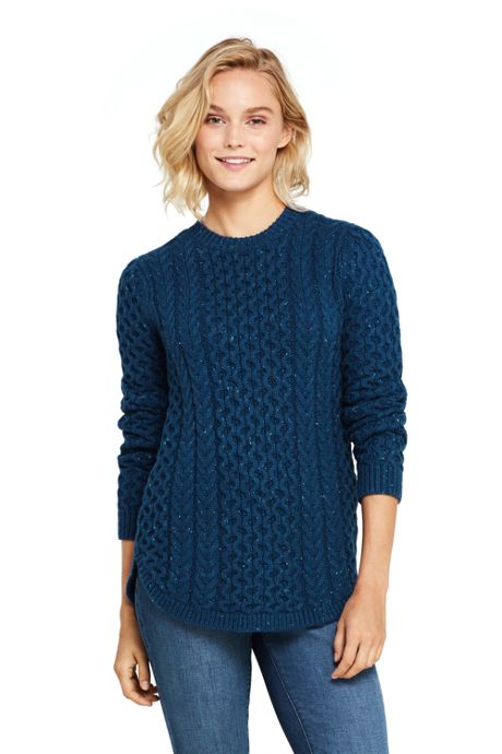 Women's Cozy Donegal Tunic Cable Sweater