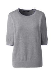 Women's Plus Size Cotton Modal Half Sleeve Trim Detail Sweater