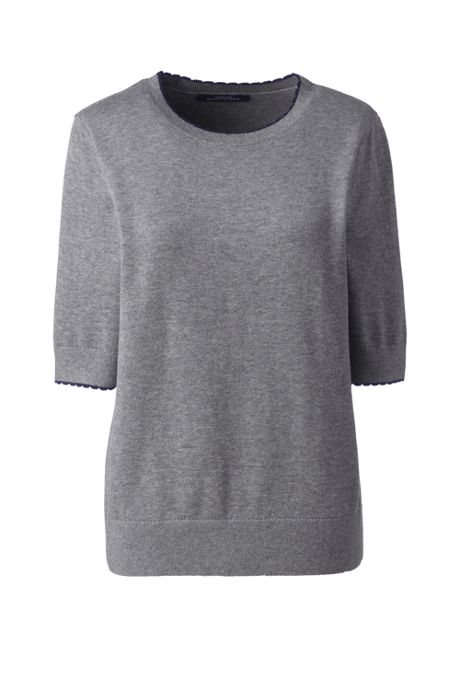 Women's Cotton Modal Half Sleeve Trim Detail Sweater