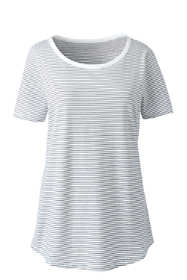 Women's Plus Size Short Sleeve Micro-Stripe Layering T-shirt