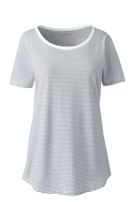 Women's Short Sleeve Micro-Stripe Layering T-shirt