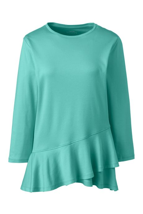 Women's 3/4 Sleeve Supima Micro Modal Ruffle Hem Top