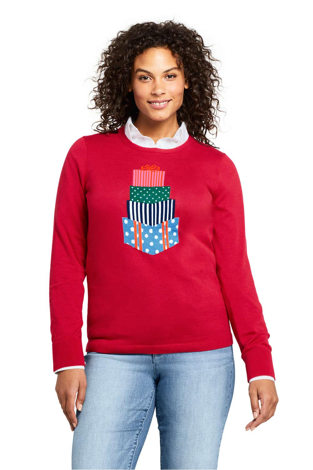 womens plus size supima cotton christmas sweater from lands end - Womens Christmas Sweaters