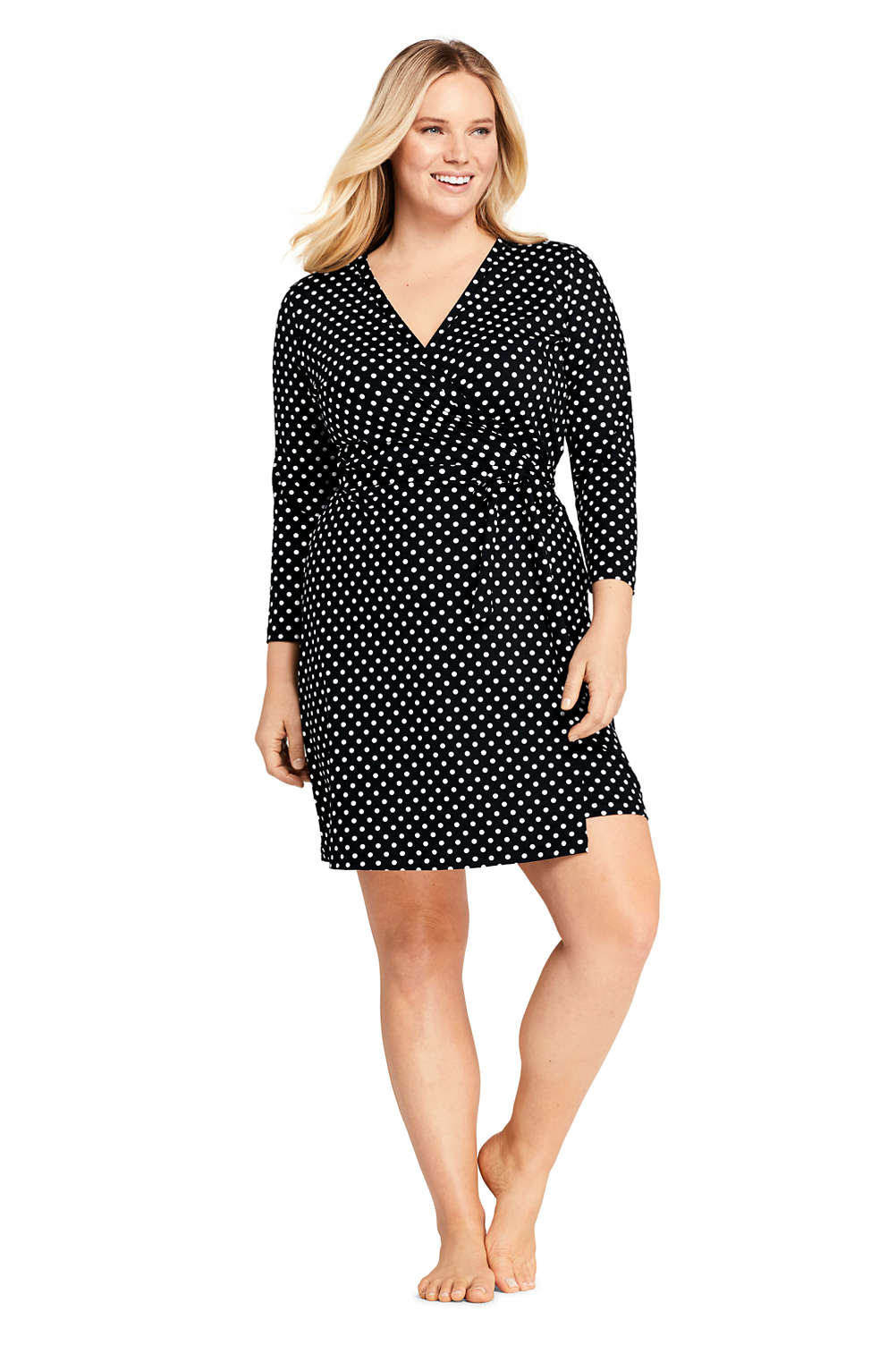 7ca2d0fd84a67 Women's Plus Size Swim Cover-up Wrap Dress with UV Protection Print from  Lands' End
