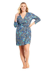 Women's Plus Size Swim Cover-up Wrap Dress with UV Protection Print