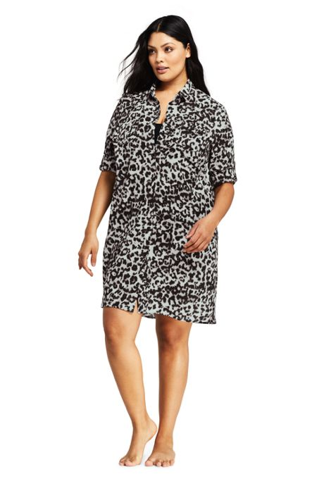 Women's Plus Size Cotton Button Down Shirt Dress Swim Cover-up Print