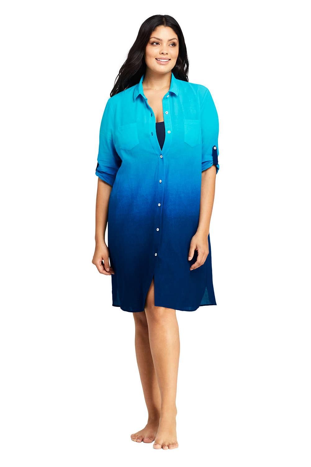 9876b1ecea108 Women's Plus Size Cotton Button Down Shirt Dress Swim Cover-up Print from  Lands' End