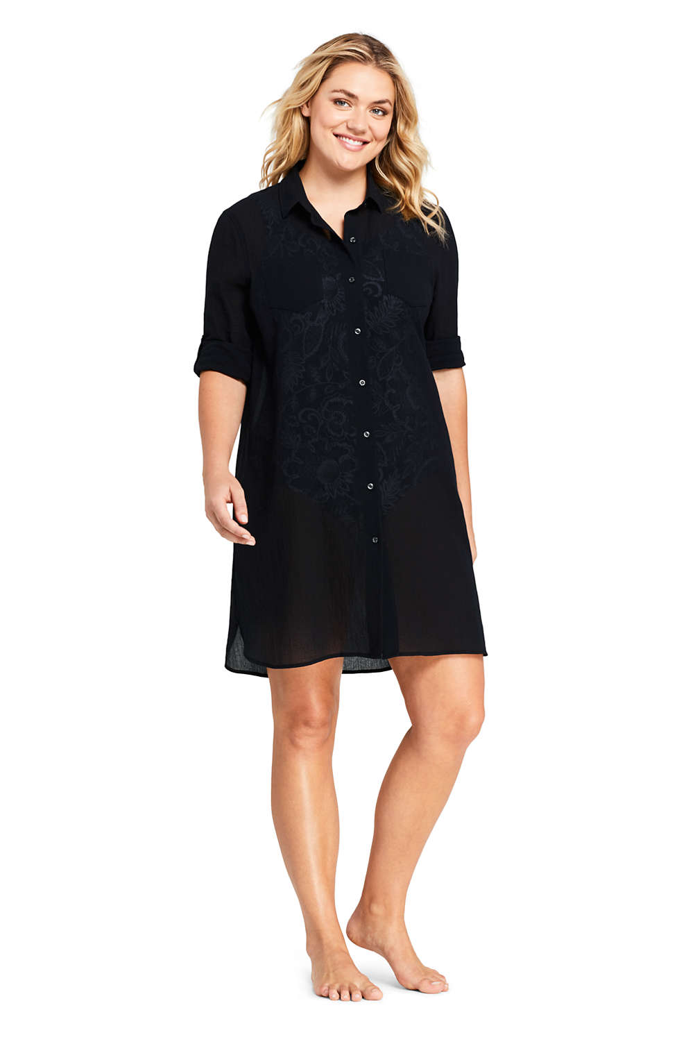 Womens Plus Size Cotton Button Down Shirt Dress Swim Cover Up From