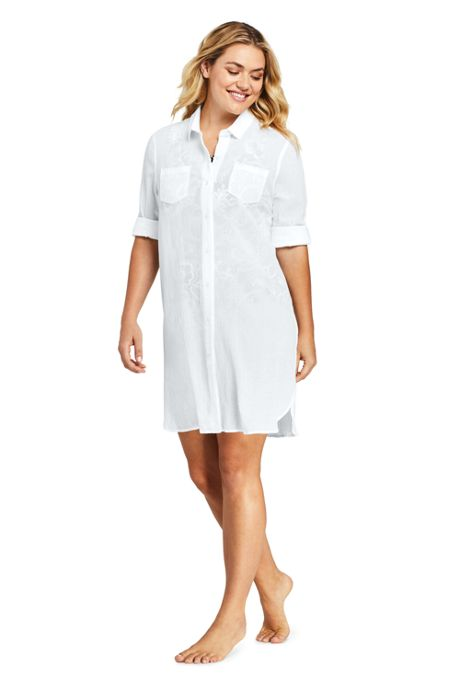 Women's Plus Size Cotton Button Down Shirt Dress Swim Cover-up
