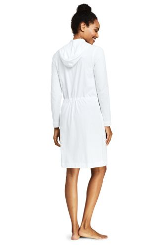 Women's Cotton Jersey Long Sleeve Hooded Full Zip Swim Cover-up Dress