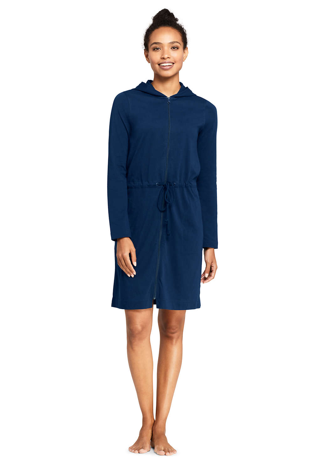 7a0c674243 Women s Cotton Jersey Hooded Full Zip Swim Cover-up from Lands  End