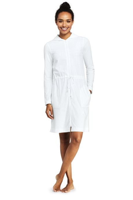 Women's Long Cotton Jersey Hooded Full Zip Swim Cover-up