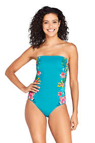 Women's Tummy Control Strapless Bandeau One Piece Swimsuit Adjustable Straps Print