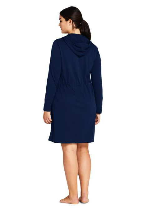 Women's Plus Size Cotton Jersey Long Sleeve Hooded Full Zip Swim Cover-up Dress