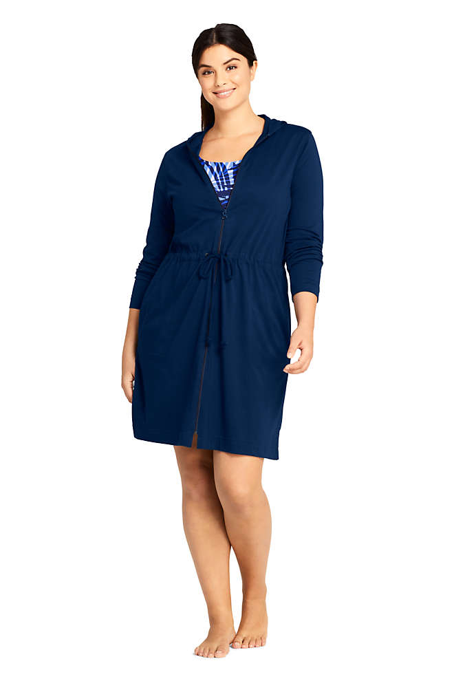 Women's Plus Size Cotton Jersey Long Sleeve Hooded Full Zip Swim Cover-up Dress, Front