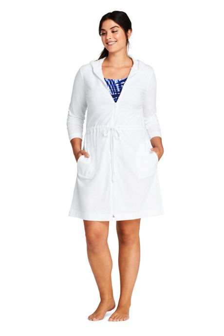 Women's Plus Size Cotton Jersey Hooded Full Zip Swim Cover-up