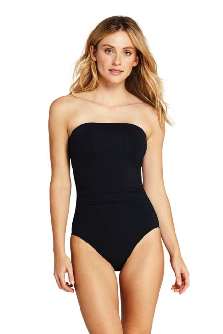 Women's Tummy Control Strapless Bandeau One Piece Swimsuit Adjustable Straps